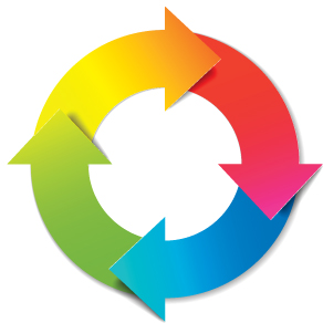 multi-colored arrows going in circular motion
